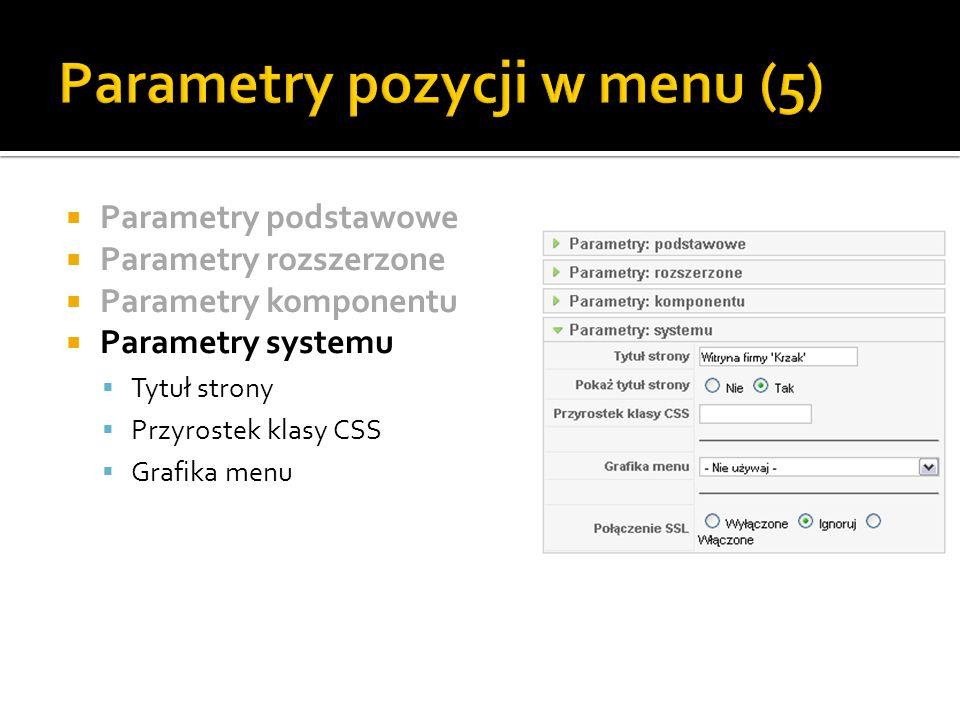 Parametry pozycji w menu (5)