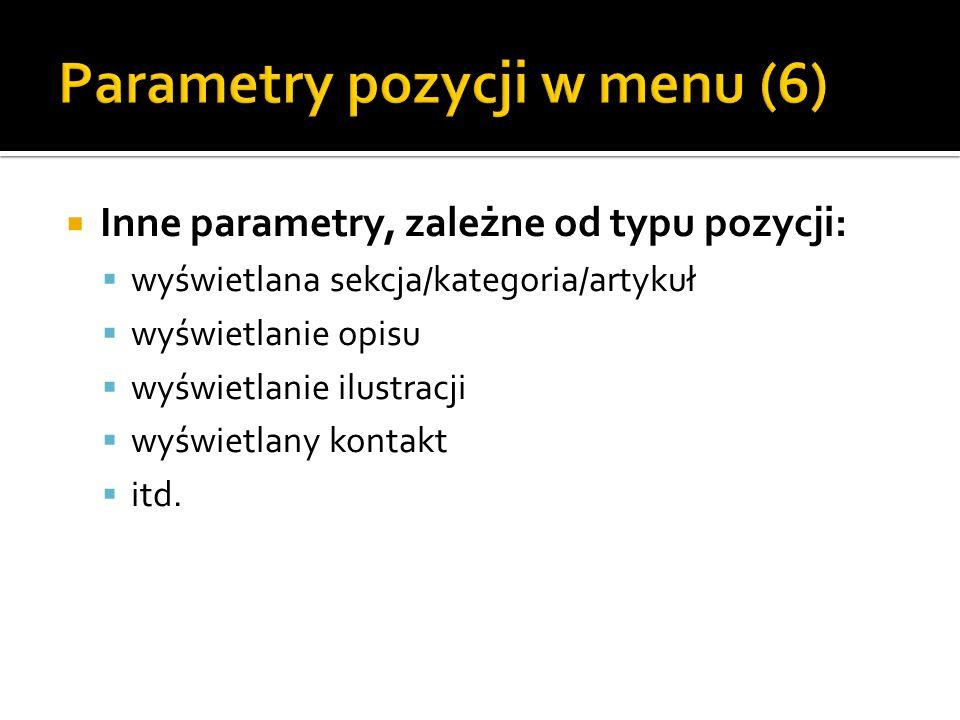 Parametry pozycji w menu (6)
