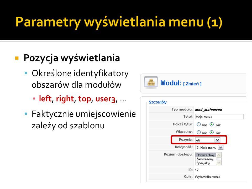 Parametry wyświetlania menu (1)