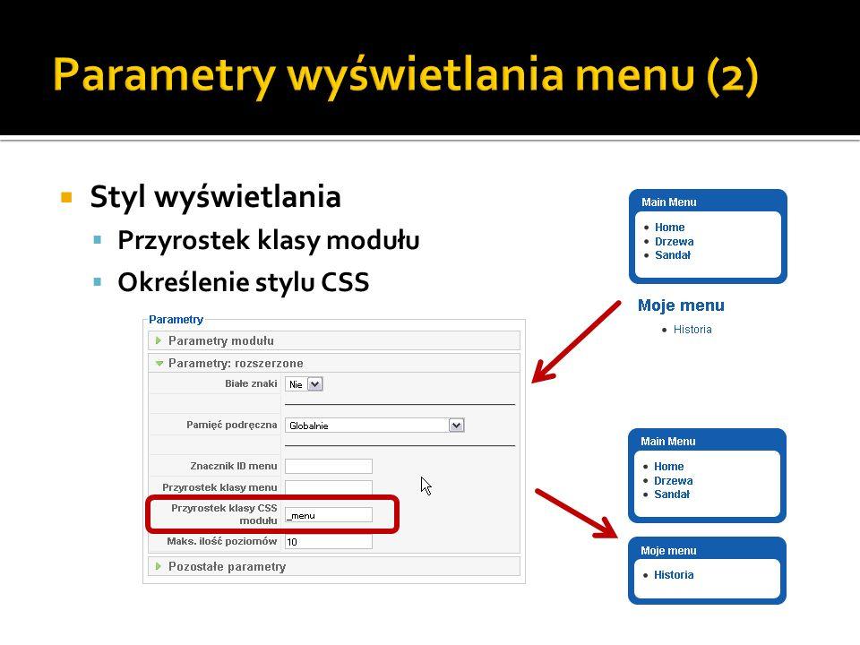 Parametry wyświetlania menu (2)
