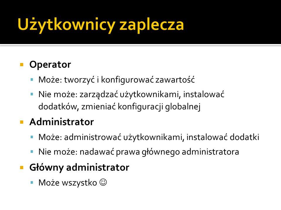 Użytkownicy zaplecza Operator Administrator Główny administrator