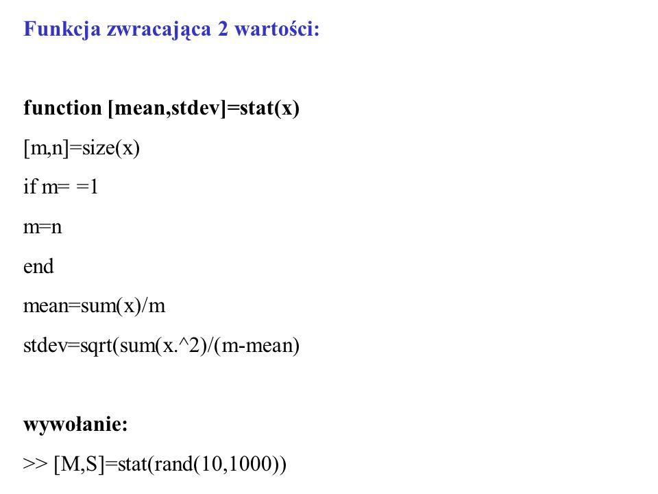 Funkcja zwracająca 2 wartości: