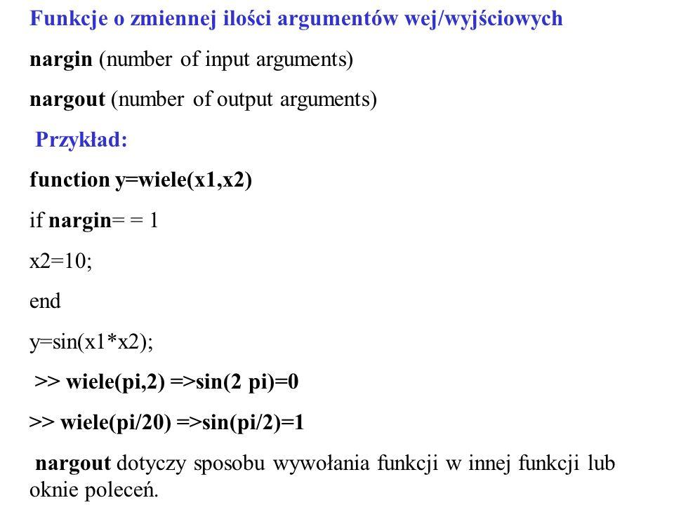 Funkcje o zmiennej ilości argumentów wej/wyjściowych