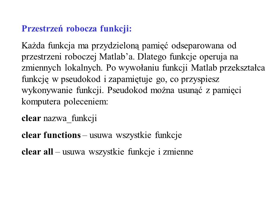 Przestrzeń robocza funkcji:
