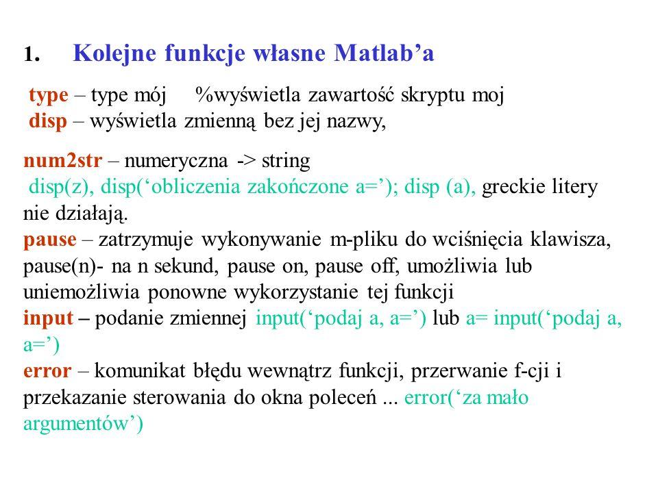 1. Kolejne funkcje własne Matlab'a
