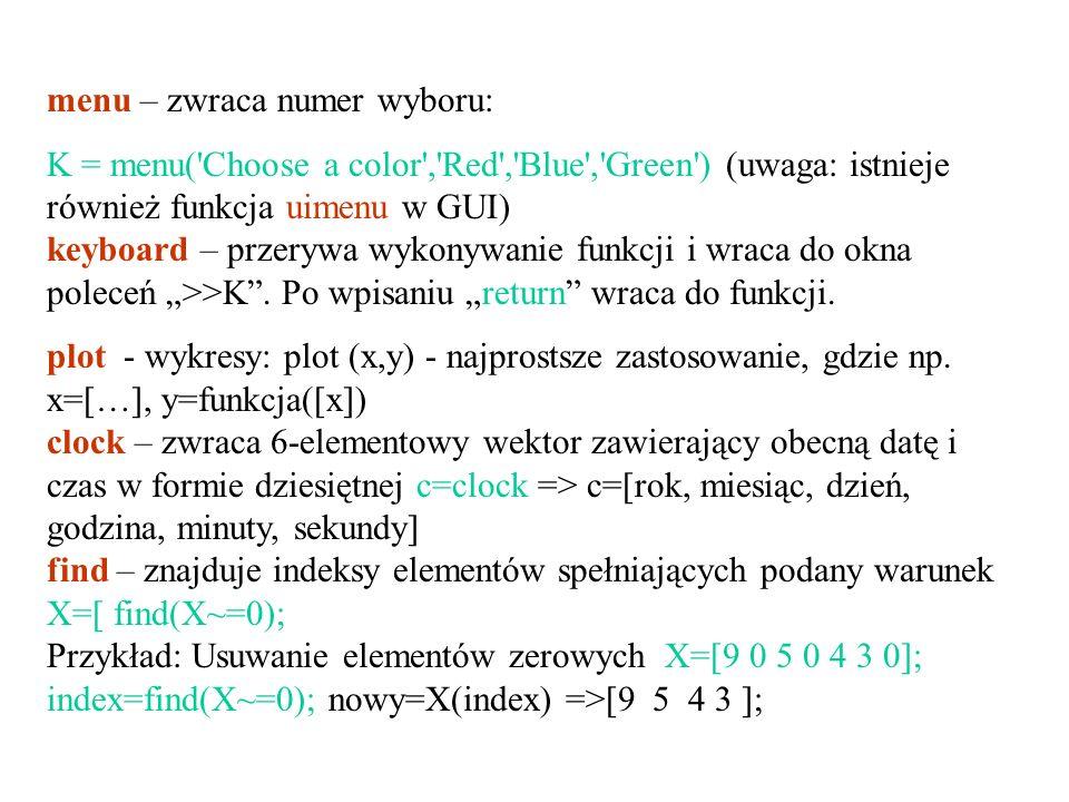 menu – zwraca numer wyboru: