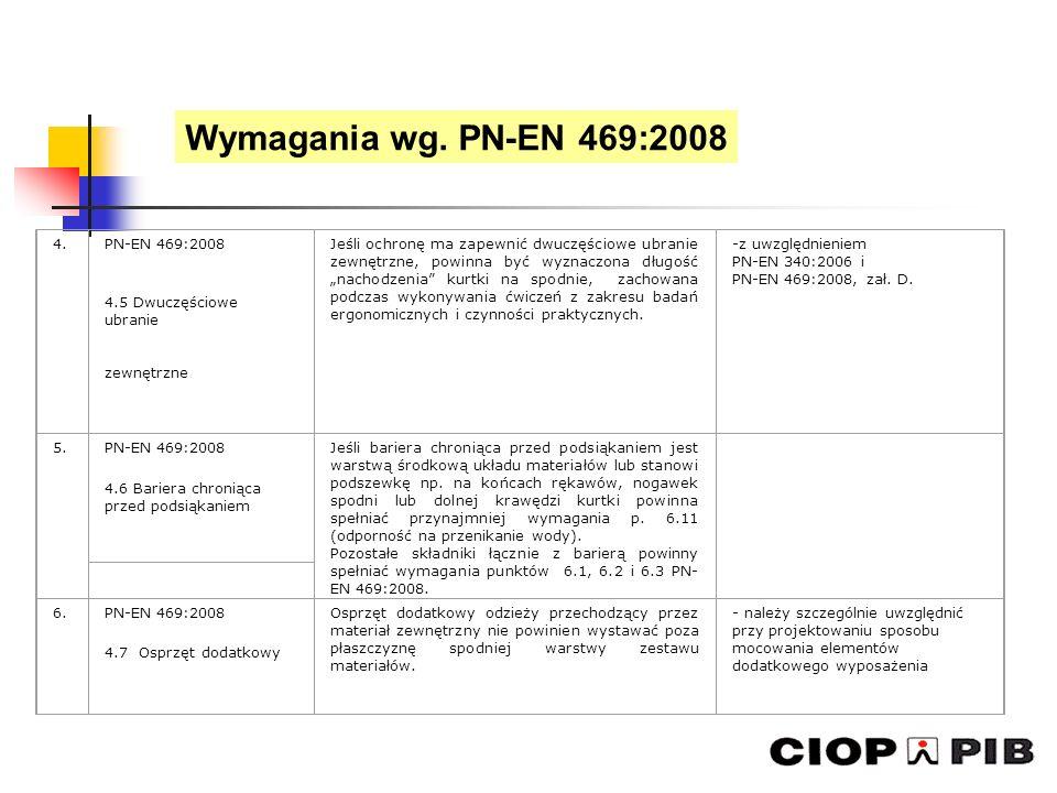 Wymagania wg. PN-EN 469:2008 4. PN-EN 469:2008