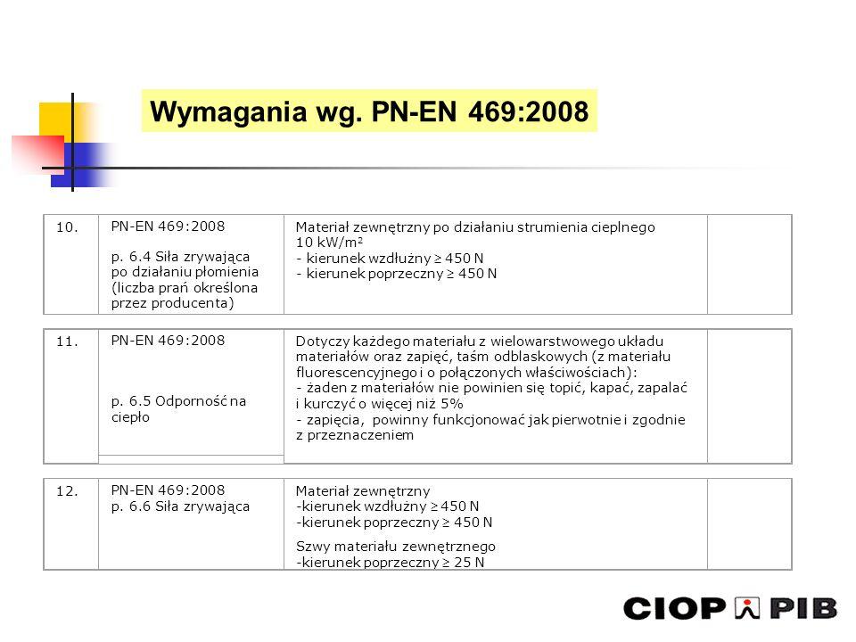 Wymagania wg. PN-EN 469:2008 10. PN-EN 469:2008