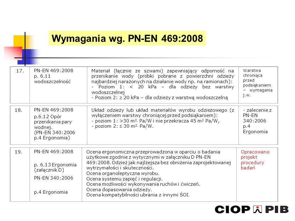 Wymagania wg. PN-EN 469:2008 17. PN-EN 469:2008