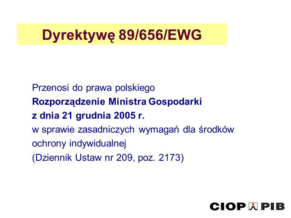 Dyrektywę 89/656/EWG Przenosi do prawa polskiego