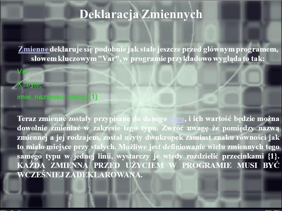 Deklaracja Zmiennych Var X :byte; imie, nazwisko :string; {1}
