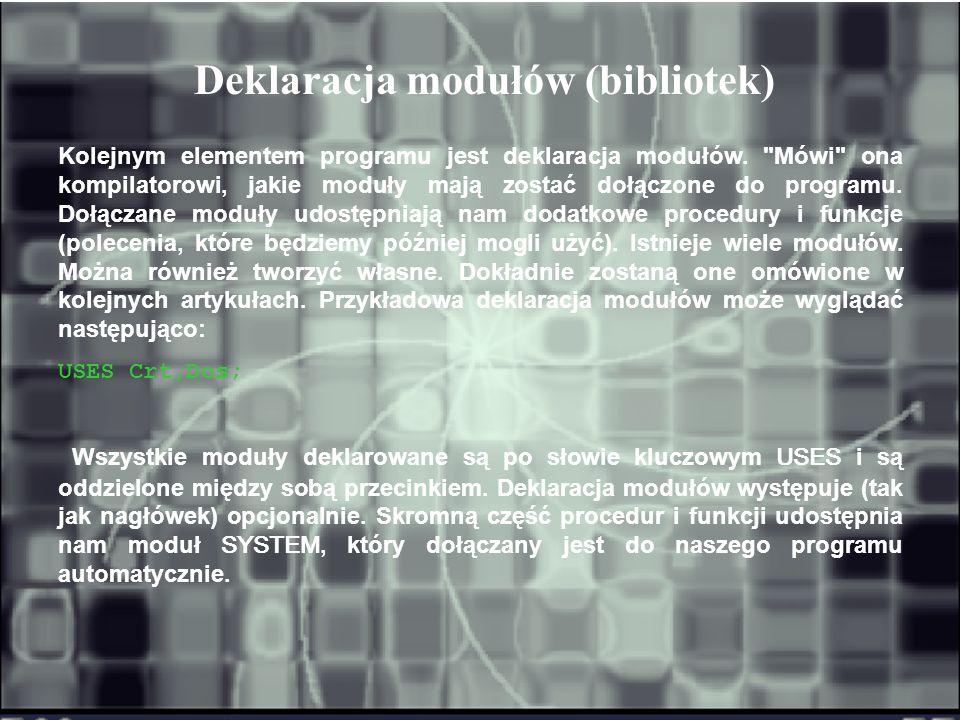 Deklaracja modułów (bibliotek)