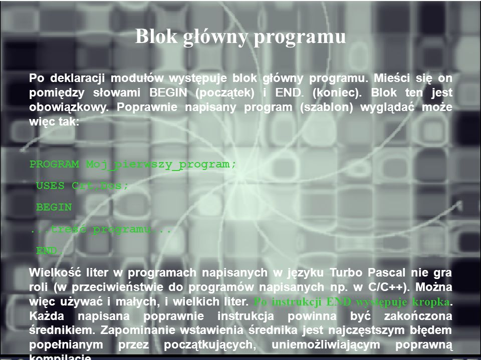 Blok główny programu