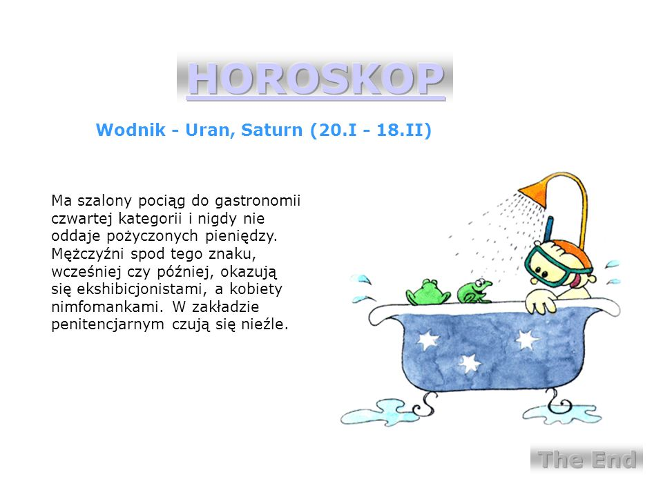 HOROSKOP The End Wodnik - Uran, Saturn (20.I - 18.II)
