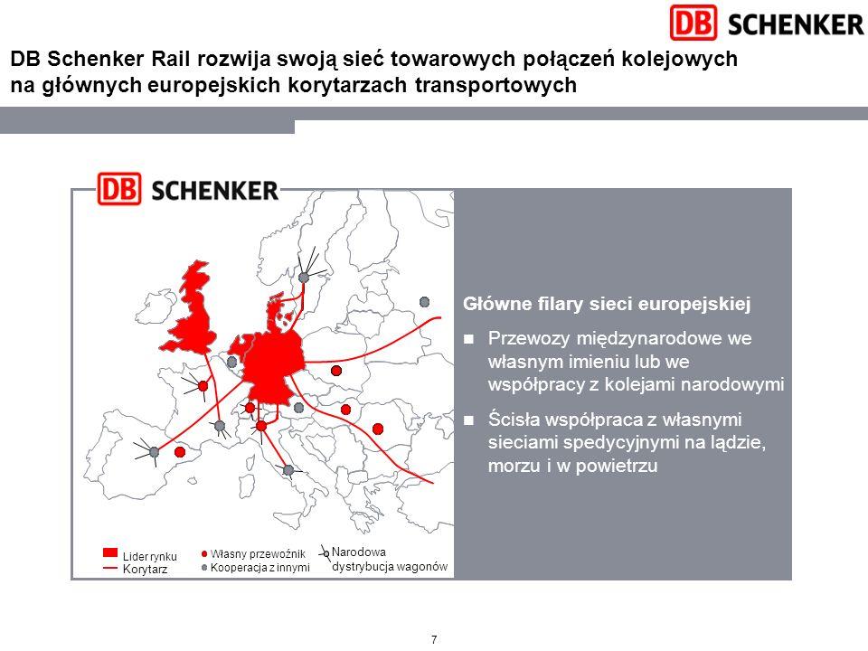 DB Schenker Rail rozwija swoją sieć towarowych połączeń kolejowych na głównych europejskich korytarzach transportowych