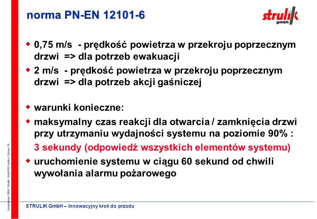 norma PN-EN 12101-6 0,75 m/s - prędkość powietrza w przekroju poprzecznym drzwi => dla potrzeb ewakuacji.