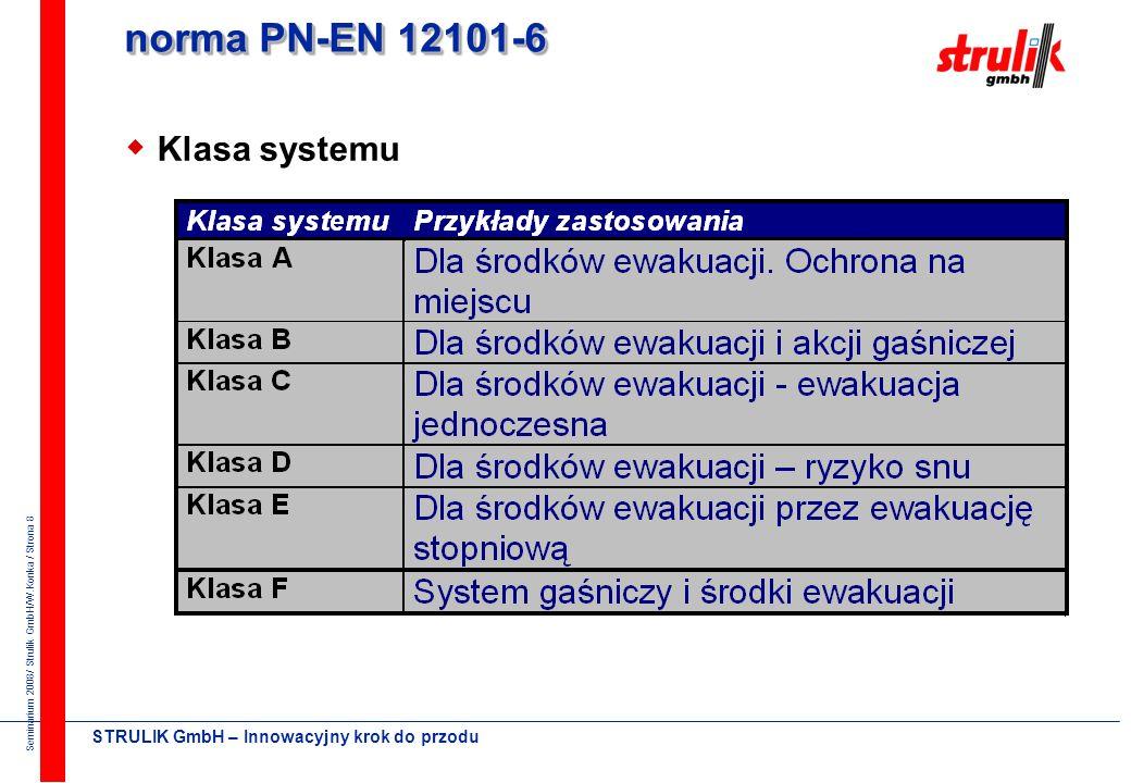 norma PN-EN 12101-6 Klasa systemu