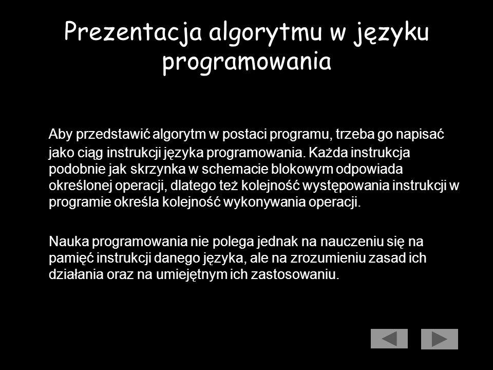 Prezentacja algorytmu w języku programowania