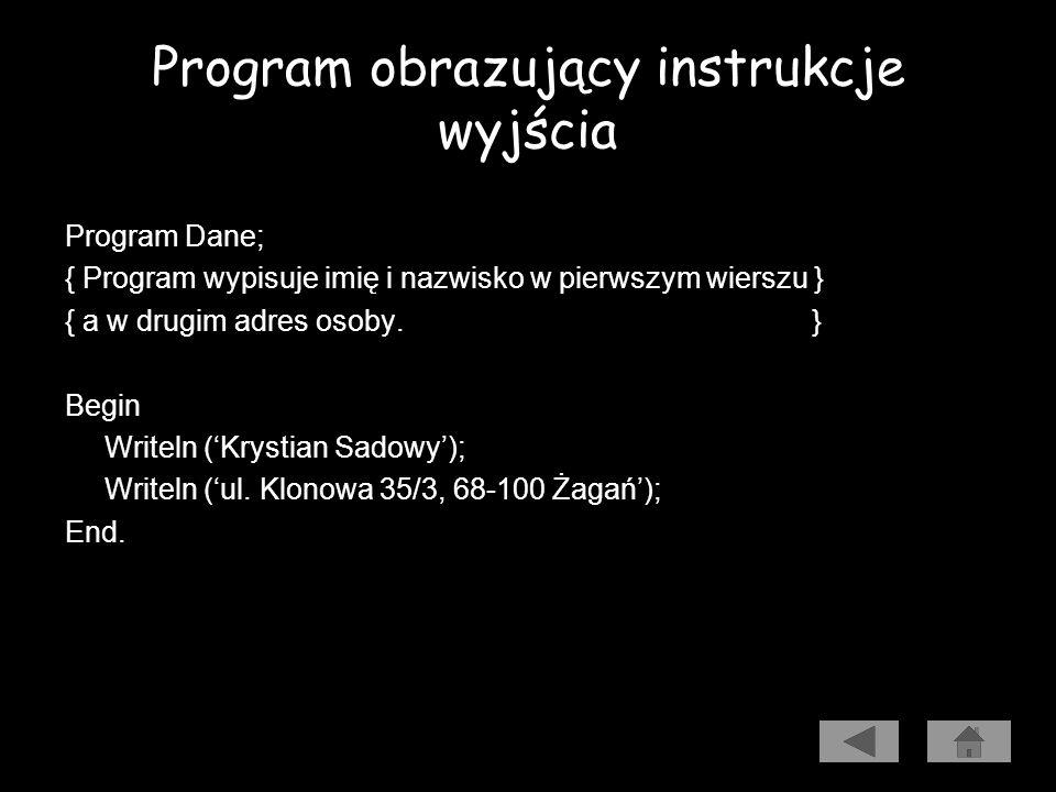 Program obrazujący instrukcje wyjścia
