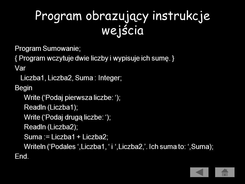 Program obrazujący instrukcje wejścia