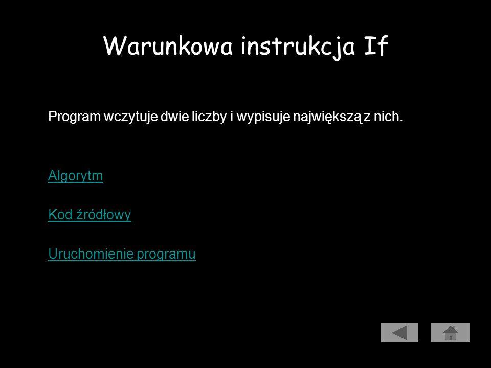 Warunkowa instrukcja If