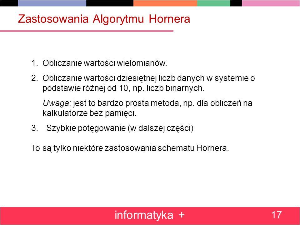 Zastosowania Algorytmu Hornera