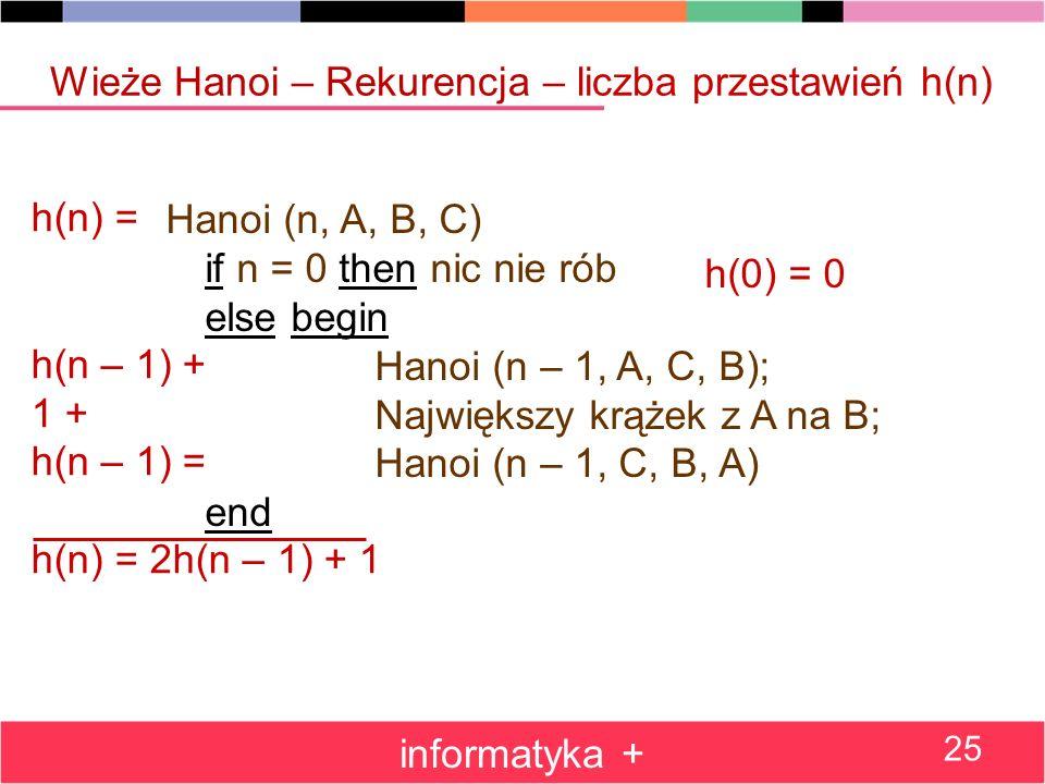Wieże Hanoi – Rekurencja – liczba przestawień h(n)