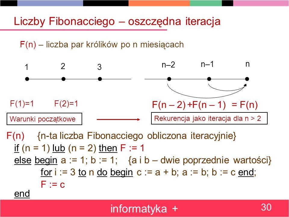Liczby Fibonacciego – oszczędna iteracja