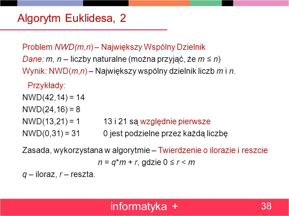 Algorytm Euklidesa, 2 informatyka +