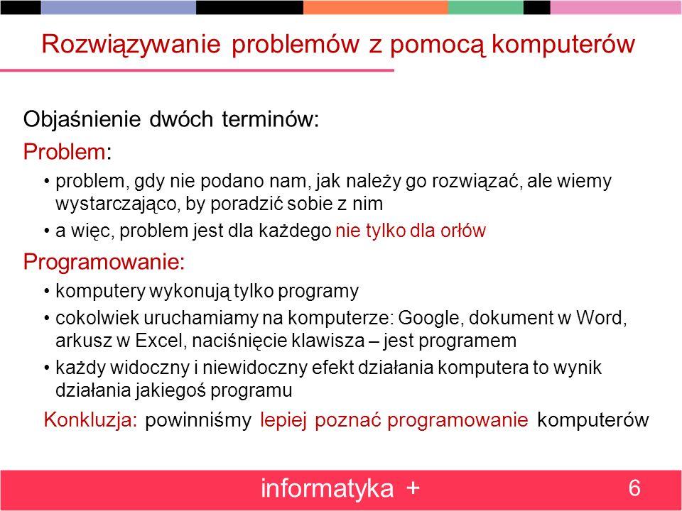 Rozwiązywanie problemów z pomocą komputerów
