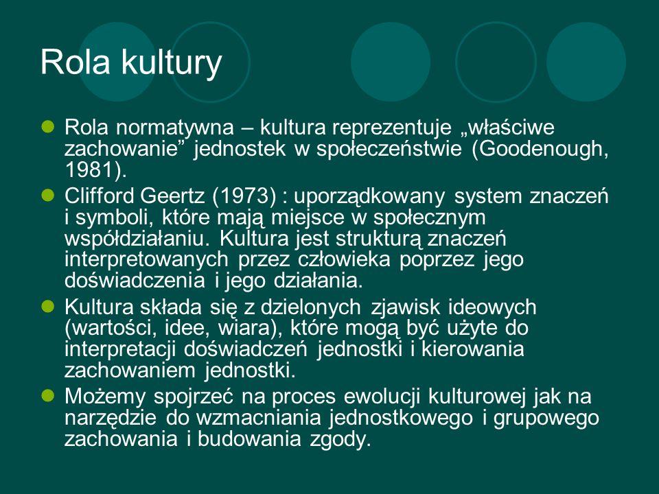 """Rola kulturyRola normatywna – kultura reprezentuje """"właściwe zachowanie jednostek w społeczeństwie (Goodenough, 1981)."""