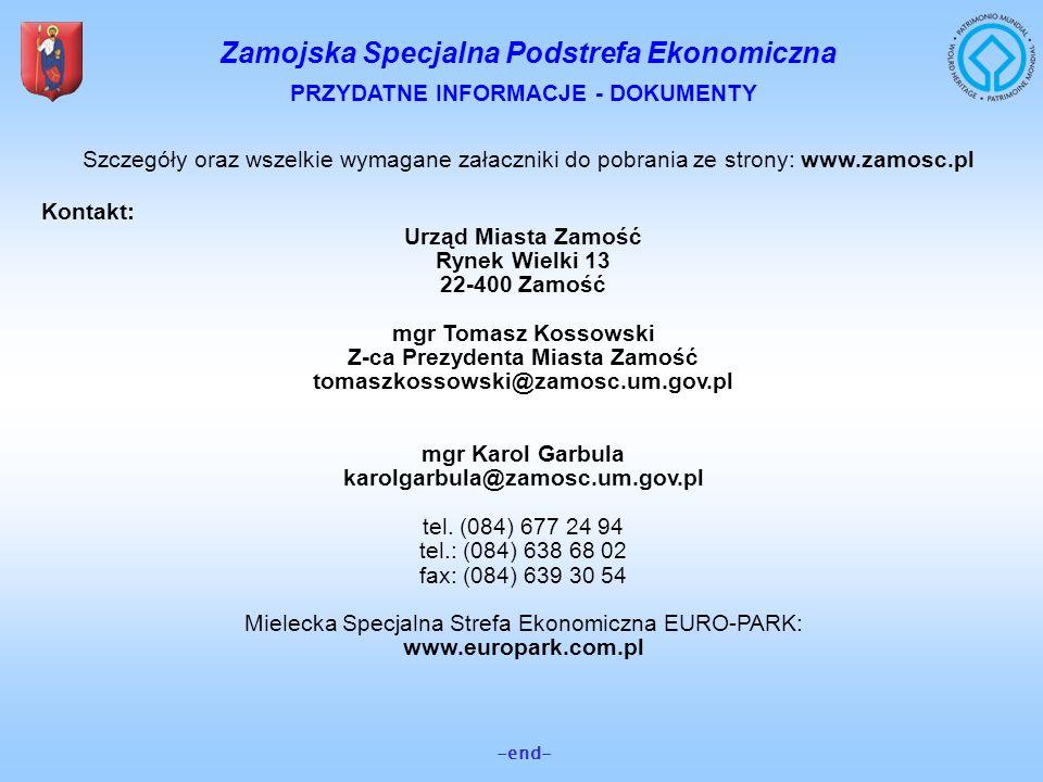 PRZYDATNE INFORMACJE - DOKUMENTY Z-ca Prezydenta Miasta Zamość
