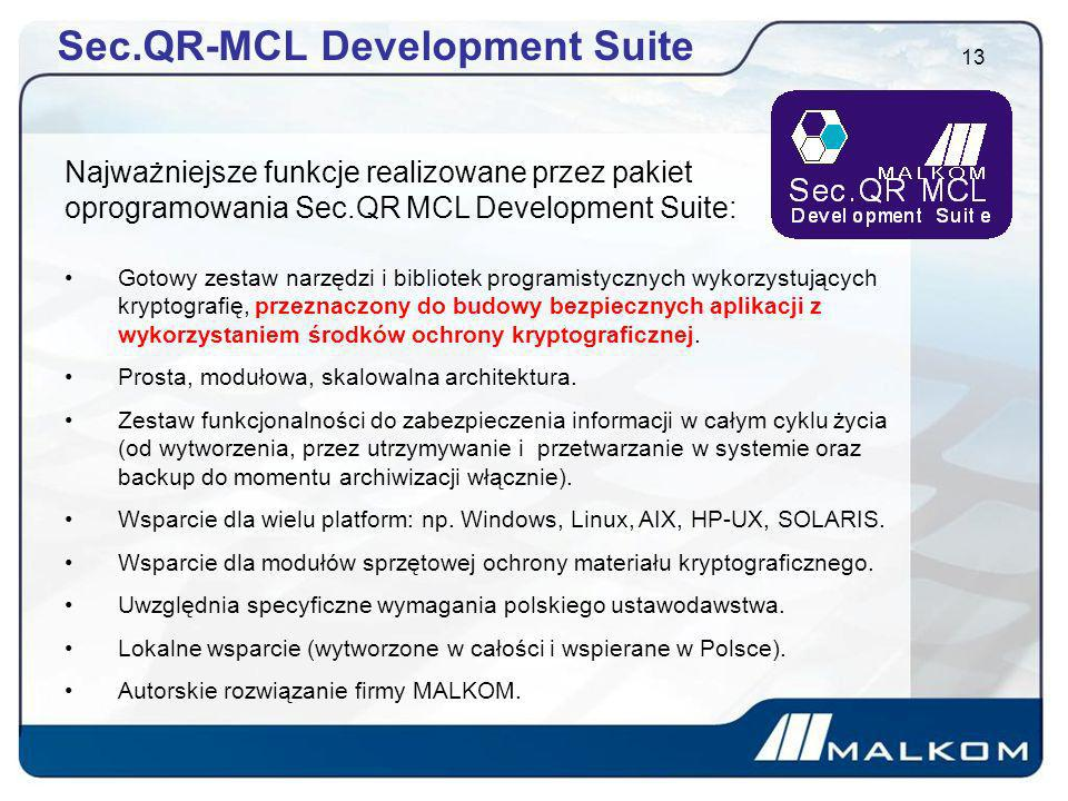 Sec.QR-MCL Development Suite