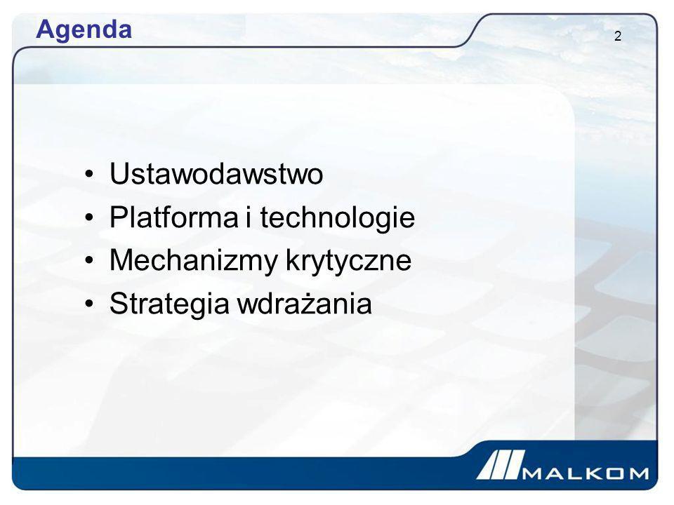Platforma i technologie Mechanizmy krytyczne Strategia wdrażania