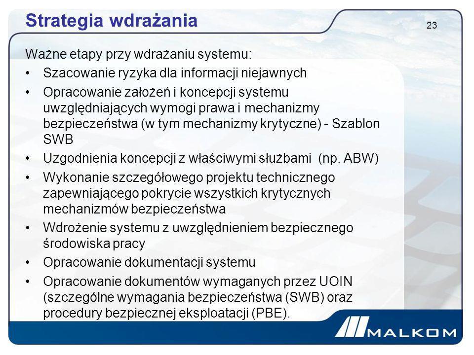Strategia wdrażania Ważne etapy przy wdrażaniu systemu: