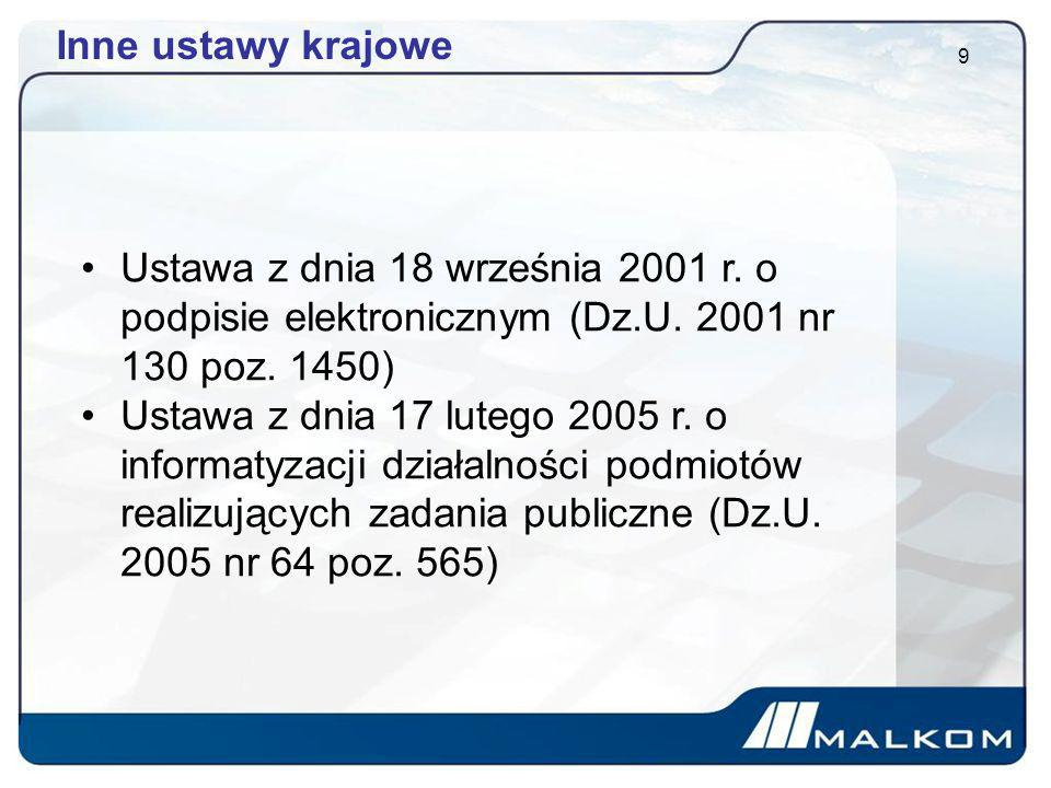 Inne ustawy krajowe Ustawa z dnia 18 września 2001 r. o podpisie elektronicznym (Dz.U. 2001 nr 130 poz. 1450)