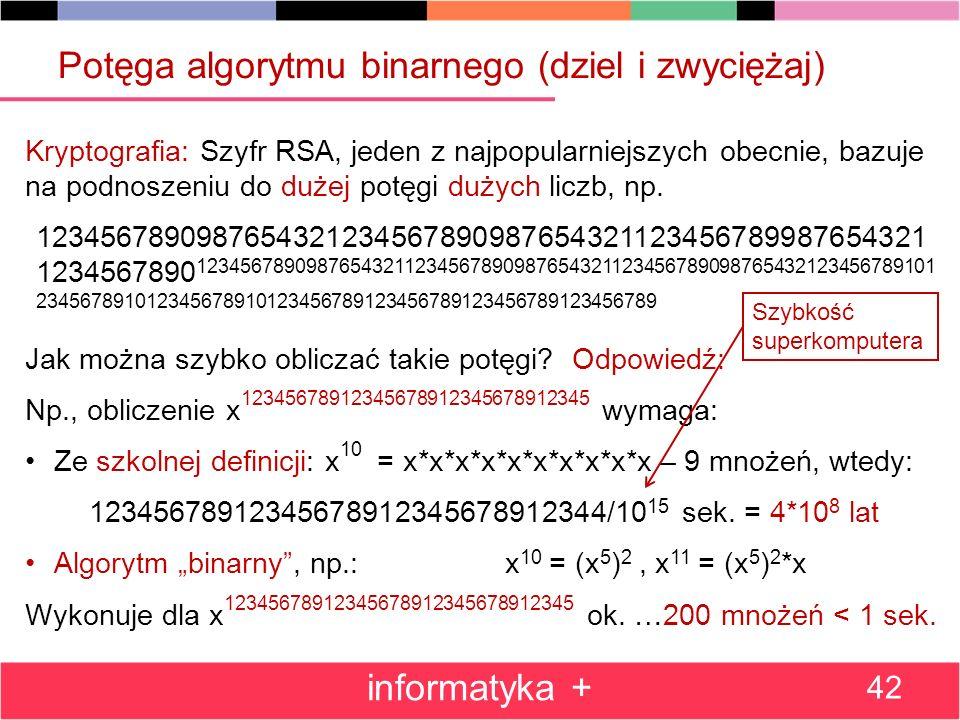 Potęga algorytmu binarnego (dziel i zwyciężaj)