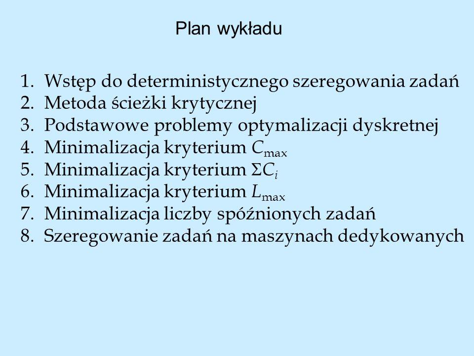 Plan wykładu Wstęp do deterministycznego szeregowania zadań. Metoda ścieżki krytycznej. Podstawowe problemy optymalizacji dyskretnej.