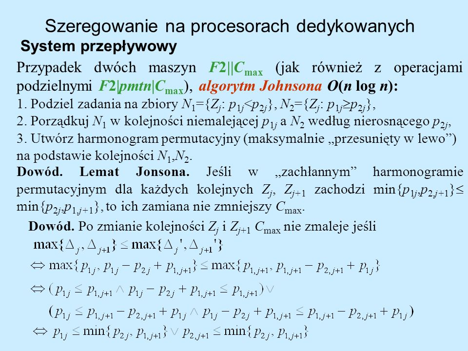 Szeregowanie na procesorach dedykowanych