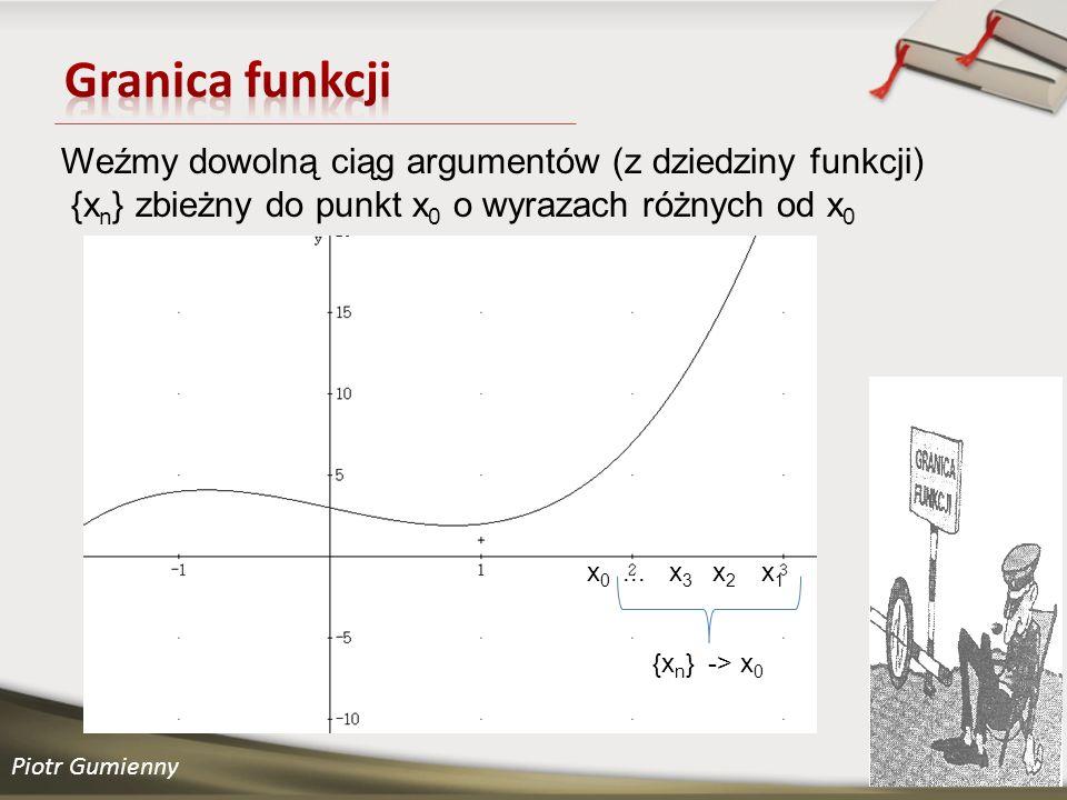 Granica funkcji Weźmy dowolną ciąg argumentów (z dziedziny funkcji) {xn} zbieżny do punkt x0 o wyrazach różnych od x0.
