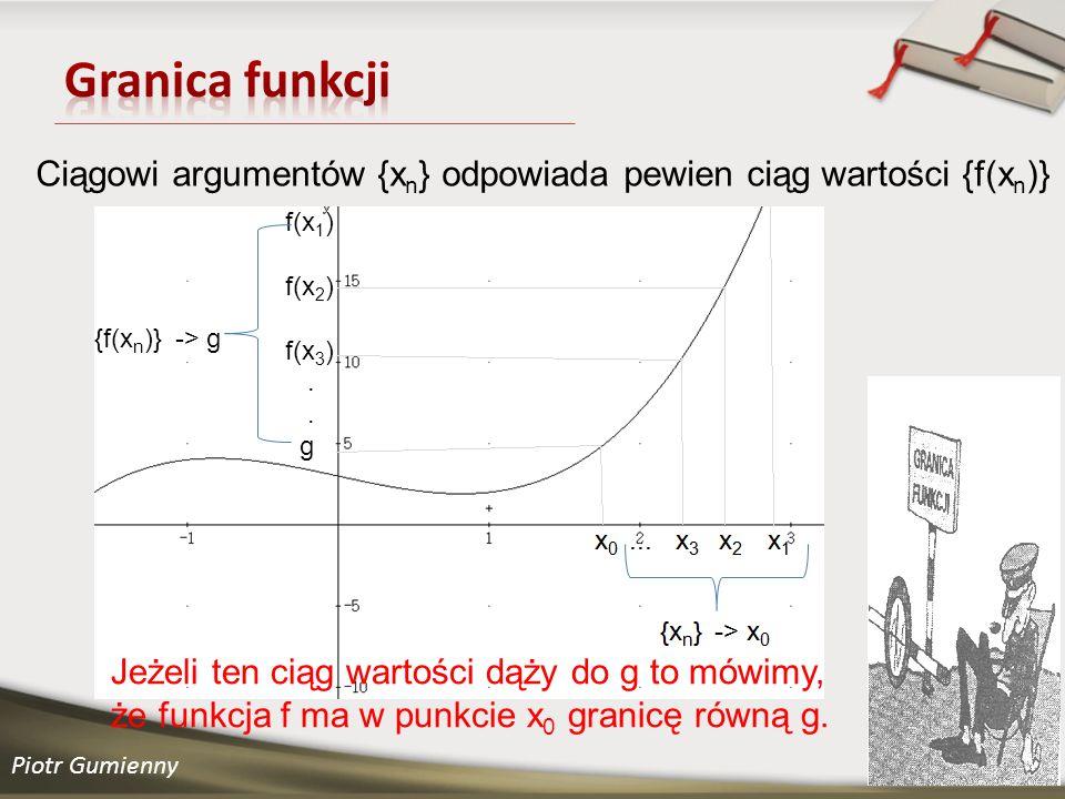 Granica funkcji Ciągowi argumentów {xn} odpowiada pewien ciąg wartości {f(xn)} f(x1) f(x2) f(x3)