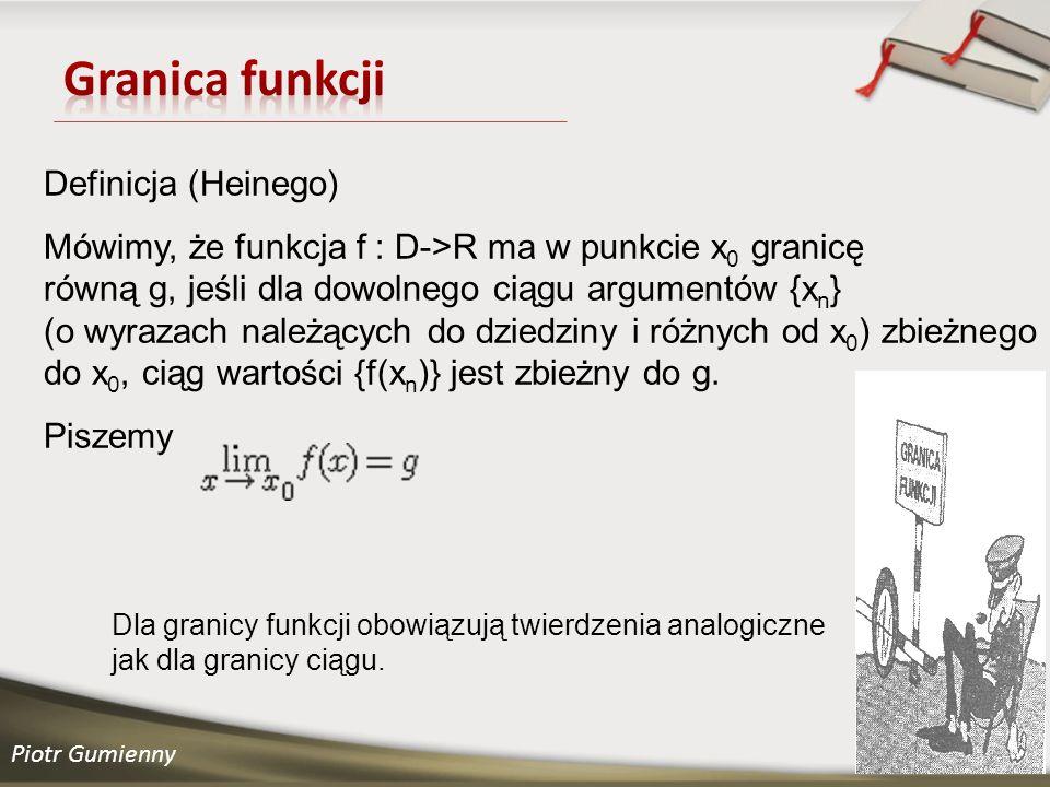 Granica funkcji Definicja (Heinego)