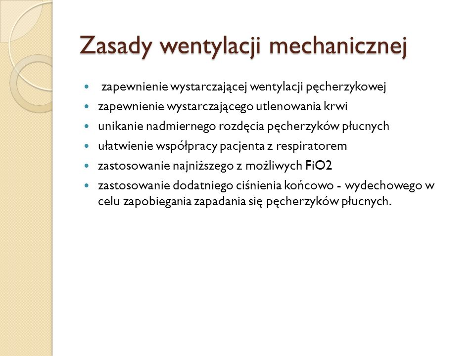 Zasady wentylacji mechanicznej