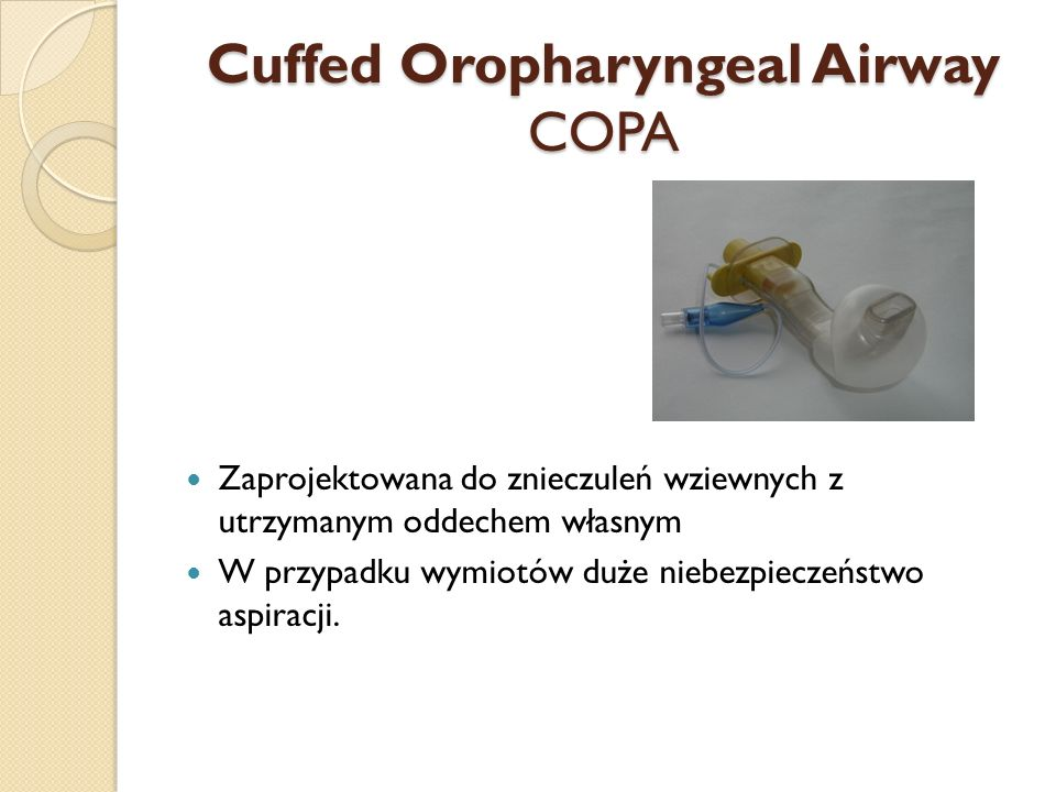 Cuffed Oropharyngeal Airway COPA