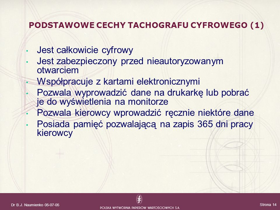 PODSTAWOWE CECHY TACHOGRAFU CYFROWEGO (1)