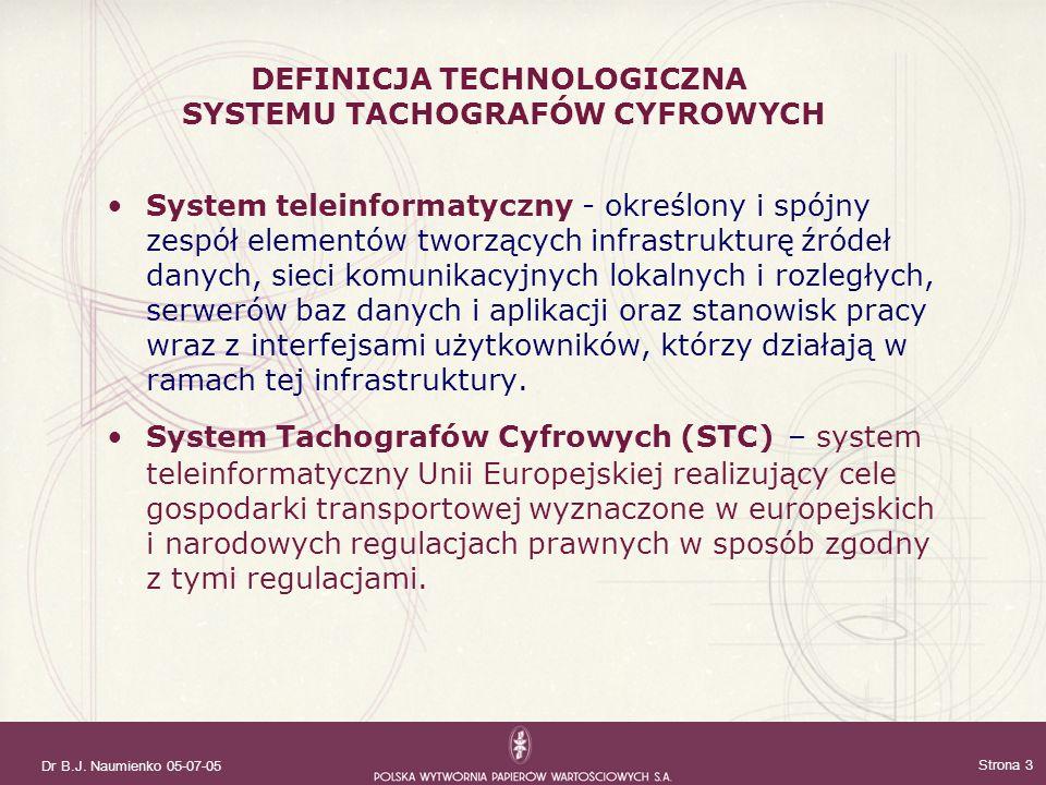 DEFINICJA TECHNOLOGICZNA SYSTEMU TACHOGRAFÓW CYFROWYCH