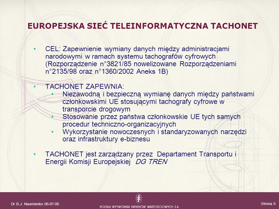 EUROPEJSKA SIEĆ TELEINFORMATYCZNA TACHONET