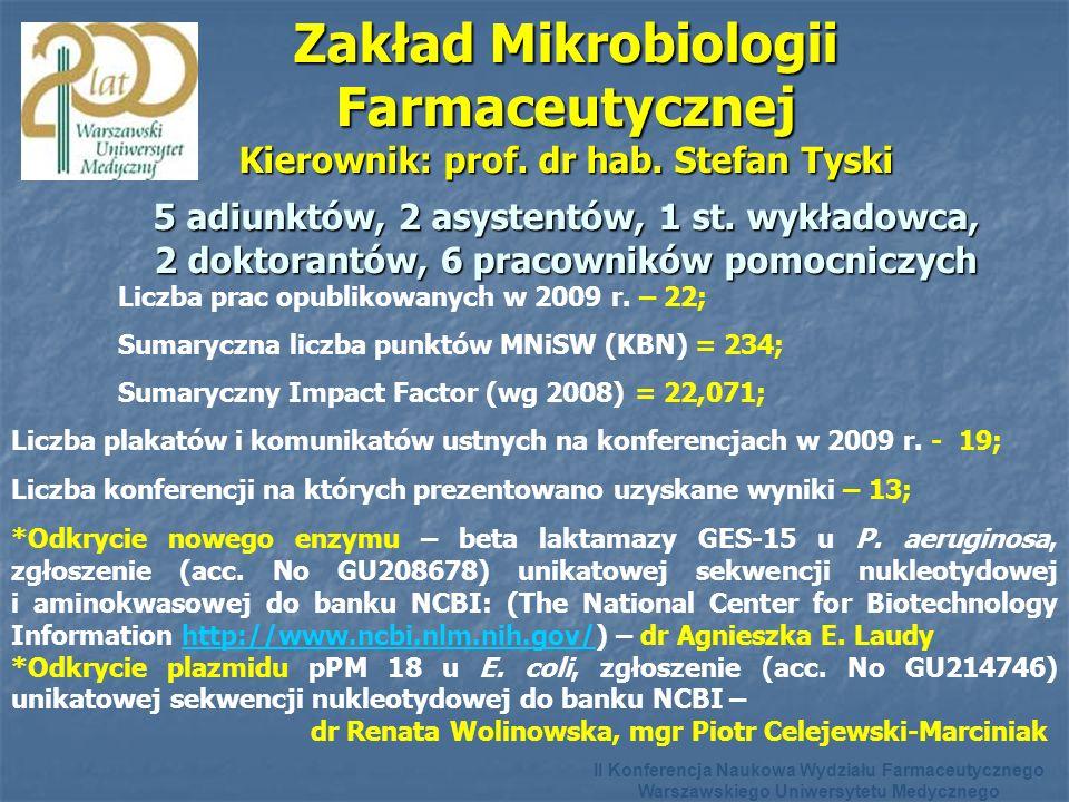 Zakład Mikrobiologii Farmaceutycznej Kierownik: prof. dr hab