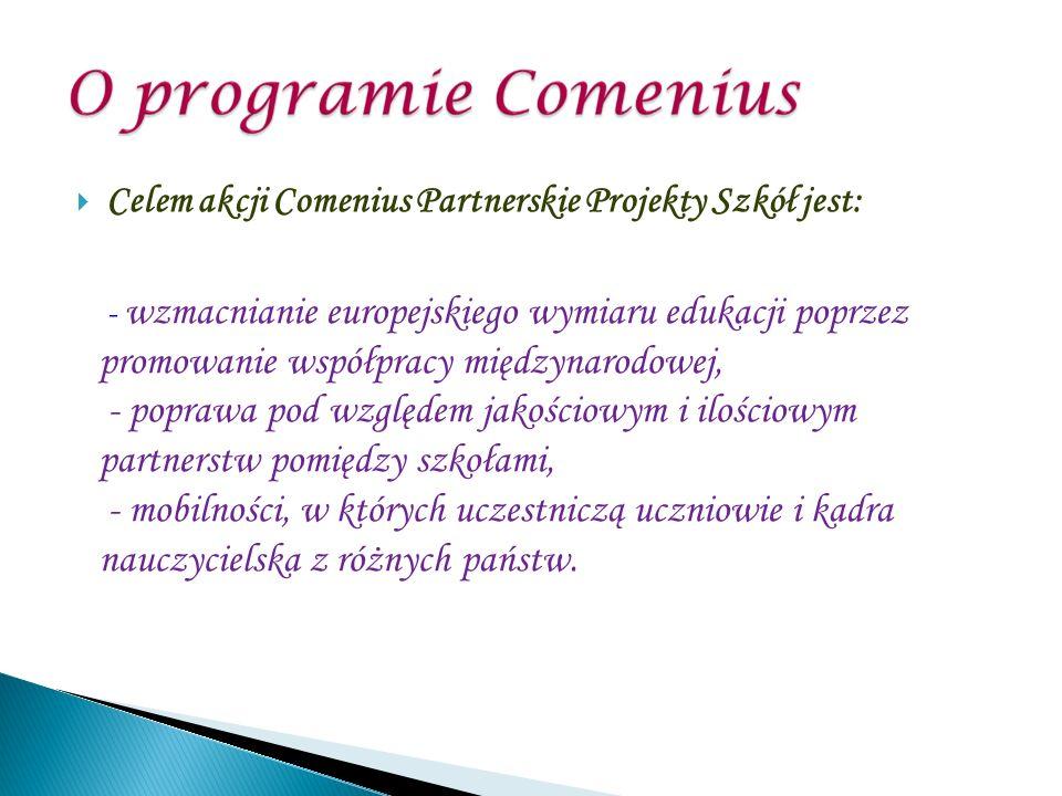 Celem akcji Comenius Partnerskie Projekty Szkół jest: