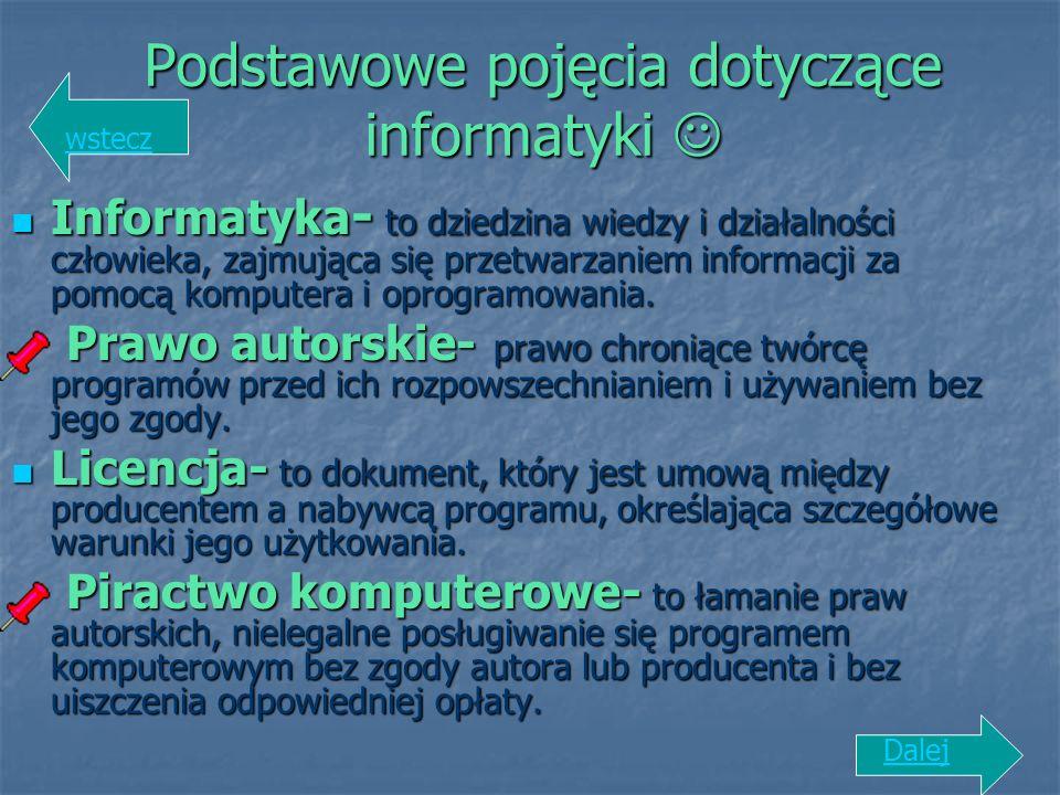 Podstawowe pojęcia dotyczące informatyki 